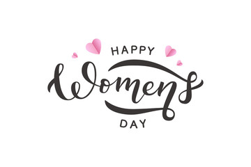 Vector realistic isolated lettering for Women's Day with pink origami hearts for decoration and covering on the white background. Concept of Happy Women's Day.