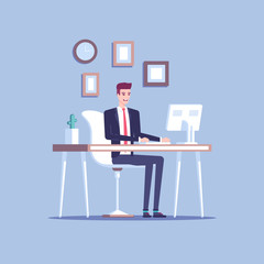 Smiling young businessman or male clerk sitting at the office desk and working at the computer and looking at screen flat vector illustration. Pleasant and comfortable workplace