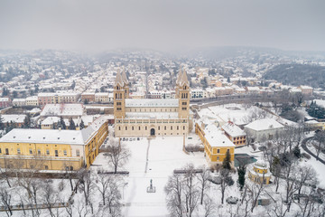 Pecs, Szekesegyhaz at winter