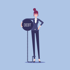 Businesswoman chained to a heavy steel ball with the inscription debt vector flat illustration. Unhappy female office employee holding in her hand a heavy metal ball. Business concept burden