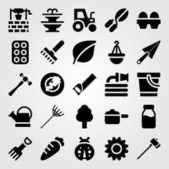 Garden vector icon set. pot, fountain, hammer and eggs