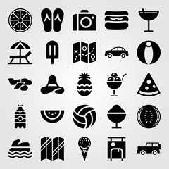 Summertime vector icon set. ice cream, sea scooter, watermelon and car