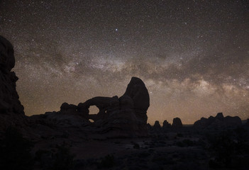 Turret Arch and Milky Way in Arches National Park, Utah