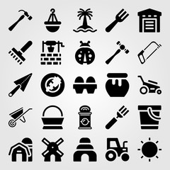Garden vector icon set. trowel, tree, rake and wheelbarrow