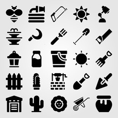 Garden vector icon set. fork, honey, cutlery and lamp