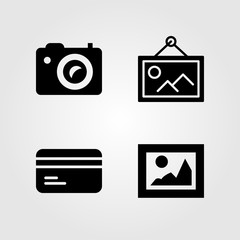 Buttons icons set. Vector illustration picture, credit card and photo camera