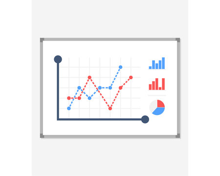 Business presentation icon. Board with a growing chart, a diagram. White board isolated on background. Vector illustration of a flat design. The report screen with business strategies of market data