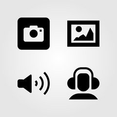 Multimedia icons set. Vector illustration photo camera, headphones, picture and volume