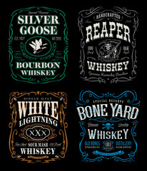 Whiskey label t-shirt graphics set
