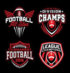 Football sport graphic emblem set