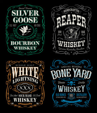 Whiskey label t-shirt graphics set