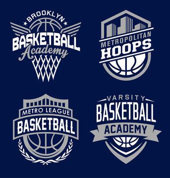 Basketball sport graphic emblem set