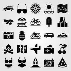 Summertime vector icon set. bikini, car, ice cream and van