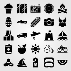 Summertime vector icon set. diving, sand castle, hot dog and swimsuit