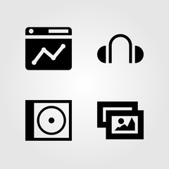 Multimedia icons set. Vector illustration headphones, browser, compact disk and picture