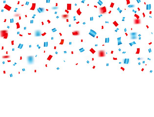USA celebration red and blue confetti falling. Concept in national colors for American independence day, celebration event & birthday isolated on white background. Vector illustration.