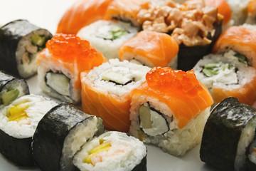 Set of sushi rolls, maki on white background