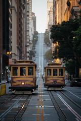 Canvas Prints San Francisco San Francisco Cable Cars on California Street at sunset, California, USA