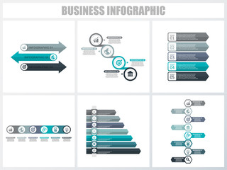 Abstract infographics number options template 3, 4, 5, 6, 7, 8. Vector illustration. Can be used for workflow layout, diagram, strategy business step options, banner and web design set.