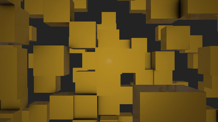 Transforming Cubes wall background. 3D animation. Abstract Cubes Background Random Motion, 3d Loopable Animation. geometric squares of various sizes move across the screen, motion background animation