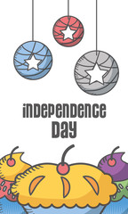 independence day american sweet cupcakes balls decoration vector illustration