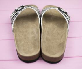 female zebra flip flops