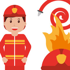happy firefighter character profession water hose fire helmet vector illustration