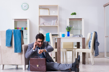 Businessman late for office due to oversleeping after overnight