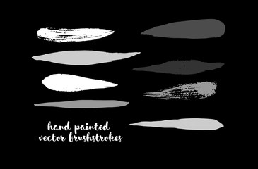 Black and White Brushstroke Vector Collection. Hand Painted Vector Ink Lines. Hipster Grunge Graffiti Buttons, Smears or Banners. Doodle Paint Frame Uneven Scribble Textured Cool Gouache Logo Element