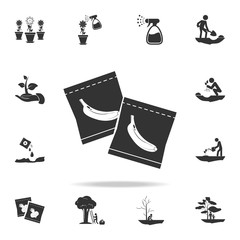 banana seeds in the package icon. Detailed set of garden tools and agriculture icons. Premium quality graphic design. One of the collection icons for websites, web design, mobile