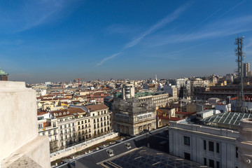 Panoramic view of city of Madrid from Cybele Palace (Palacio de Cibeles), Spain