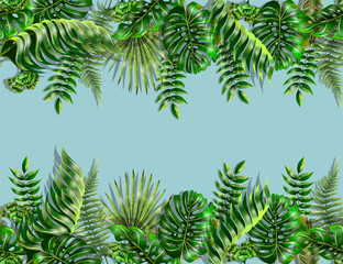 Border and corner with tropical leaves. Monstera, fern and palm leaves border seamless on blue background.