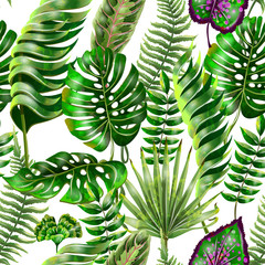 Tropical seamless pattern with monstera, palm, fern leaves.