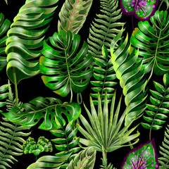 Seamless vector floral summer pattern background with tropical leaves. Use for  wallpapers, web page backgrounds,  textile, paperhangings.