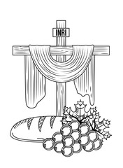 sacred cross communion bread and bunch grapes vector illustration