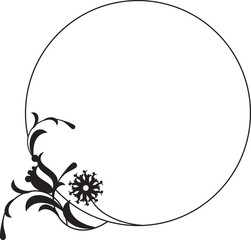 Black and white round frame with floral silhouettes.
