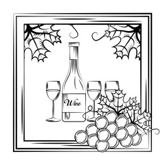 vintage wine label glass bottle cups frame leaves decoration vector illustration