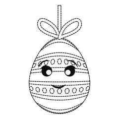 uncolored kawaii easter egg pendant   with dots and lines sticker  over white background  vector illustration