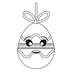 uncolored kawaii easter egg pendant   with lines and curved lines  sticker  over white background  vector illustration