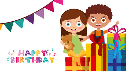 cute boy and girl pile gift boxes and garland decoration - happy birthday card vector illustration