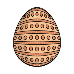 colored easter egg with dots and lines  doodle  over white backgrpund  vector illustration