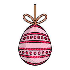 colored easter egg pendant with   dots  and lines  sticker over background  vector illustration