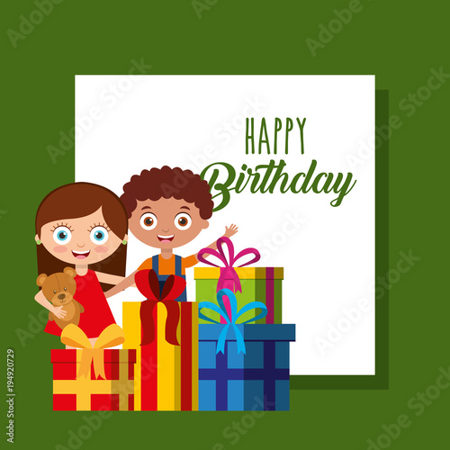 Little Boy And Girl And Gift Boxes Happy Birthday Card Vector