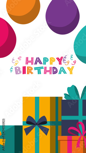 Happy Birthday Banner Celebration Party Balloons And Gift Boxes Vector Illustration