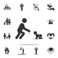 Father plays with the child. A man playing with a toddler icon. Detailed set of family icons. Premium quality graphic design. One of the collection icons for websitesfamily