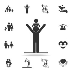 father keeps the child on his shoulders icon. Detailed set of family icons. Premium quality graphic design. One of the collection icons for websites, web design, mobilefamily