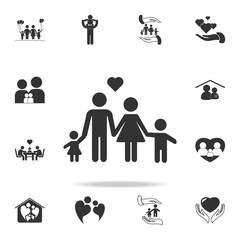 Black Family heart icon. Vector Illustration. Detailed set of family icons. Premium quality graphic design. One of the collection icons for websites, web design, mobilefamily