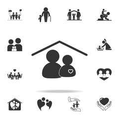 Person and heart icons at home icon. Detailed set of family icons. Premium quality graphic design. One of the collection icons for websites, web design, mobile appfamily