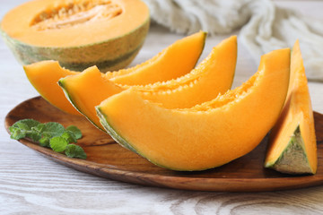 Fresh slices of sweet melon