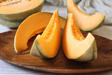 Fresh slices of sweet melon